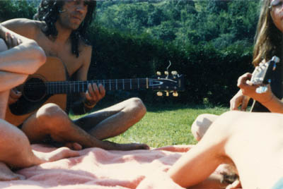 jamming in the Alsace sun in 1983: Přemek Števich & myself